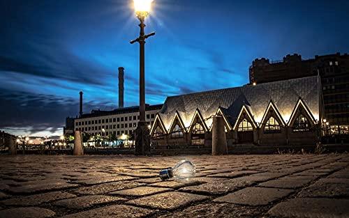 MX-XXUOUO Pussel 1000 bitar – landskap och resor pussel – Sverige Göteborg glödlampa nattbelysning