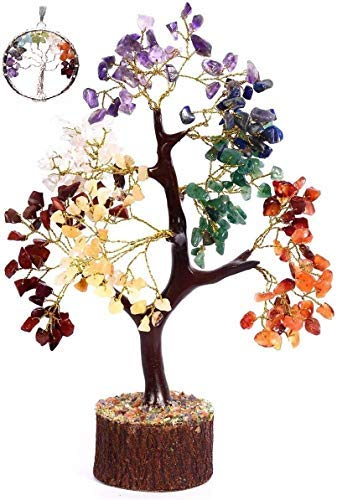 Crystals Healing Stones(500 Beads Seven Chakra Natural Healing Gemstone Bonsai feng Shui Money Crystal Tree of Life Good Luck Home Office Decor Spiritual Gift (Gold Wire) of 10-12 Inch