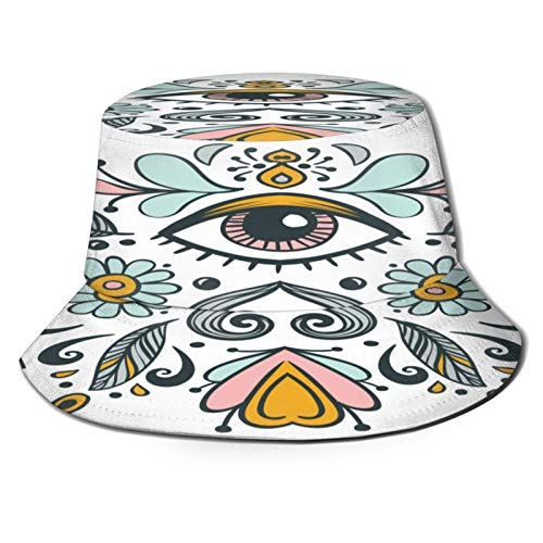 MAYUES Unisex Bucket Sun Hats Beautiful Vector Ornament Illustration Fashion Summer Outdoor Travel Beach Fisherman Cap