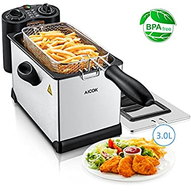 Aicok Electric Deep Fryer with Basket, 1700W Fast Immersion Fryer with Adjustable Temperature & Timer, Fully Removable Stainless Steel Fryer, Easy to Clean, Perfect for Chicken, Shrimp, Fries, 3 Liter