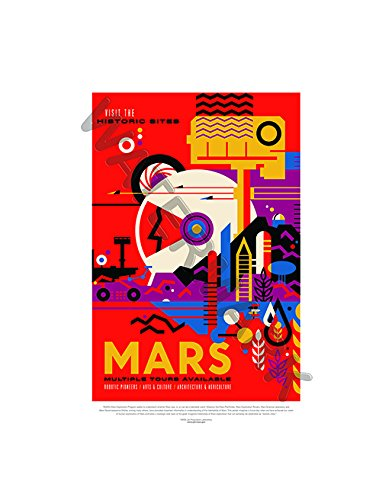 Wee Blue Coo LTD NASA Poster Space TRAVEL Advert Mars 12x16 '' Framed Art Print F12X11832