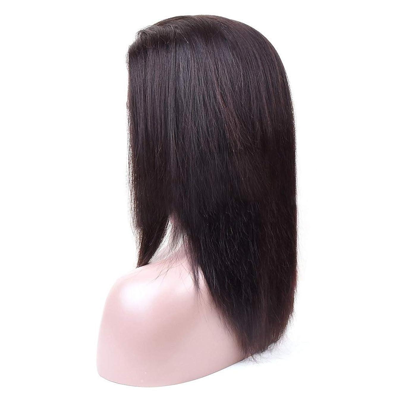 ミュート加害者サミットWASAIO ブラジルのレースフロントかつらバージン人間の髪の毛のグルーレス360レース前頭人間の髪の毛のかつら (色 : 黒, サイズ : 20 inch)