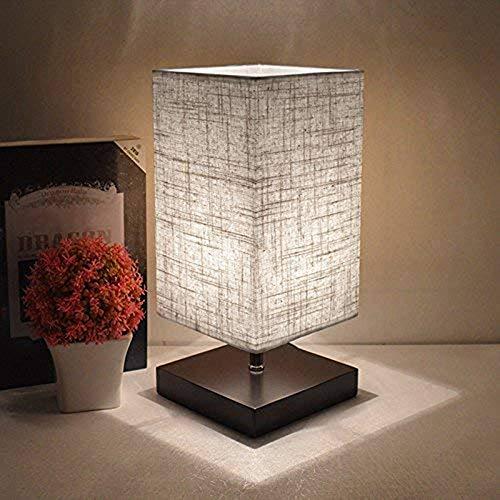 Depuley E27 Lampe Chevet de Nuit Abat-jour Chambre, Lampe de Table Moderne Carré, Base en Bois Naturel et Léger, Interrupteur sur Câble, Design Classique et Scandinave - Ampoule Blanc Chaud Comprise