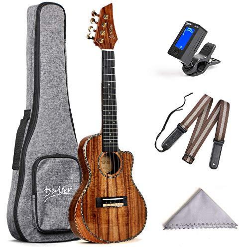 Deviser Concert Ukulele 23inch Cutaway Thin Body Travel Ukelele kit Solid KOA Top KOA Back & Side Carbon nylon Strings With Gig Bag & Tuner & Strap & Polishing Cloth …