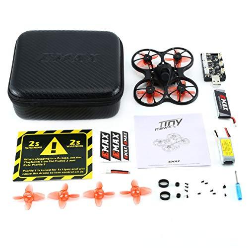 Garciasia EMAX Tinyhawk S Mini interior FPV Racing Drone Drone sin escobillas 37CH 20mW 4 en 1 5A F4 Controlador de vuelo 600TVL Cámara RC Drone (Color: Negro)