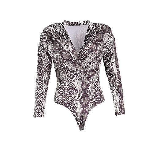Damen Bodysuit Strampler mit Animal-Print Bodys Tops Overalls Jumpsuit Langärmliges Figurbetontes Oberteil Trikot mit Schlangenmuster (2XL, Weiß-A)