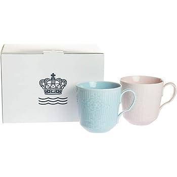 ROYALCOPENHAGEN(ロイヤルコペンハーゲン) マグカップ ブルー&ピンク 350ml 【並行輸入品】 フラワーエンブレム 2-649-046 2個入