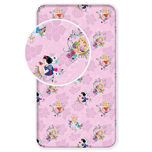 Disney Sábana bajera ajustable de Blancanieves y Rapunzel para cama individual, 100 % algodón