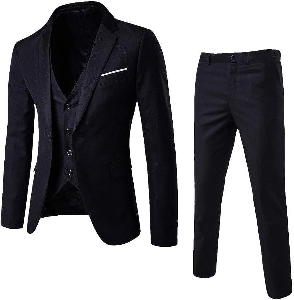 HIRIRI Men's 3-Piece Suit Slim Dress Weddin Business Blazer OFFicial shop outlet