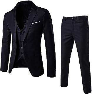 ZEZKT-Hombre Manga Larga, Traje Suit Hombre 3 Piezas Chaqueta Chaleco pantalón Hombres Traje de Fiesta de Boda de Negocios Traje de 3 Piezas Blazer Abrigo, Chaleco y Pantalones para Hombre