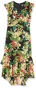 Tommy Hilfiger Women s Rivera Floral Chiffon High Low Dress Black Multi 16