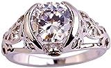 ZHJBD Fine Jewelry/Las Mujeres Anillo Oro Blanco Plateado Brillante Redondo CZ (Color : Colourless Zirconia, Size : T 1/2)