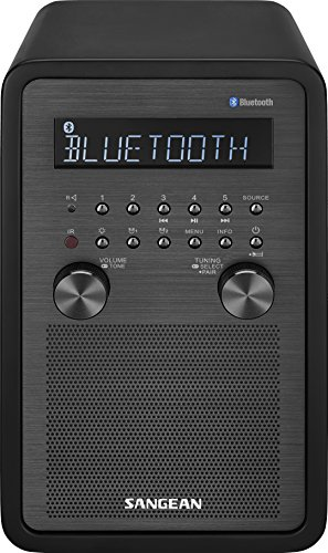 SANGEAN WR-50 AM/FM-RBDS/Bluetooth Wood Cabinet Table Top Radio Black