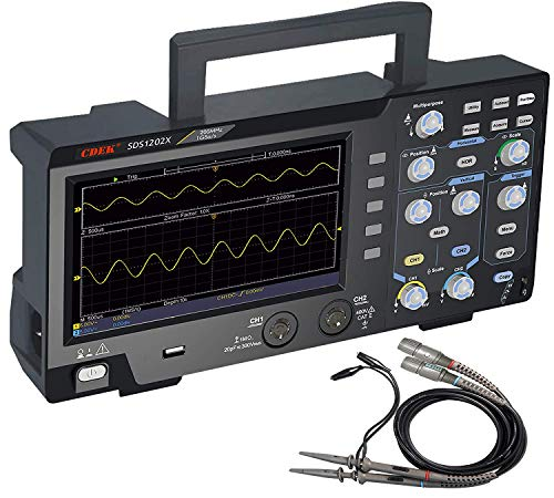 Digital Oscilloscope 2 Channels 200Mhz Bandwidth 1GS/s Sample Rate,Record Length 10K,Trigger Mode,7 '' LCD Display Portable USB Oscilloscope (SDS1202X)