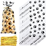 150 Pieces Clear Treat Bags Paw Print Cellophane Bags Pet Gift Bags with 150 Pieces Twist Ties for Party Supplies (Style 1)