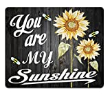 Smooffly Gaming Mouse Pad Custom,You are My Sunshine Quote on a Wood with Bees and Yellow Sunflowers Mouse pad 9.5 X 7.9 Inch (240mmX200mmX3mm)