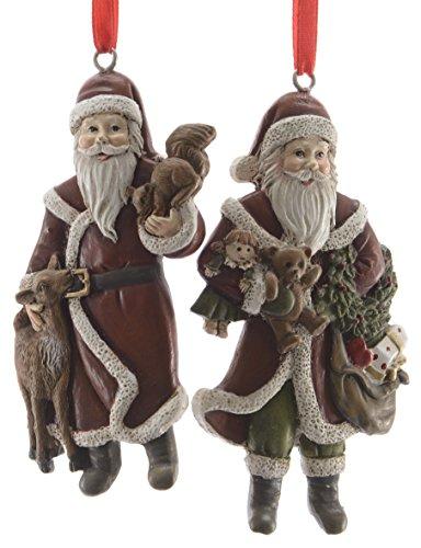 Decoris 2X Weihnachtsanhänger Weihnachtsmann Kunststoff - 9 cm - Weihnachtsschmuck - Santa - Baumschmuck