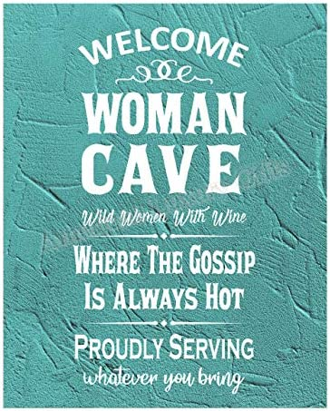 Welcome Woman Cave Wild Women With Wine Funny Wall Art Sign 11 x 14 Humorous Typographic Poster product image