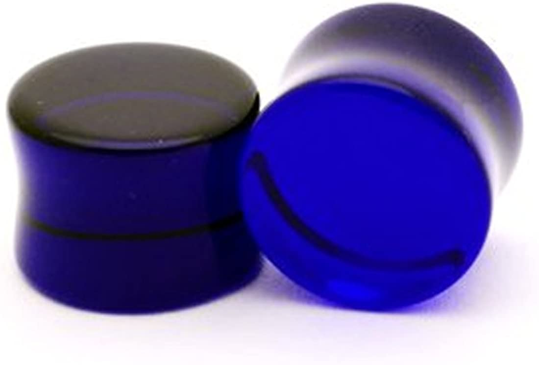 Mystic Metals Body Jewelry Blue Sapphire Glass Plugs - 9/16 Inch - 14mm - Sold As a Pair
