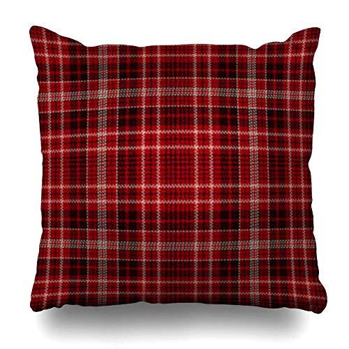 zhengchunleiX Funda de Almohada Throw Pillow Covers Tiles Ancient Tartan Red Black White Plaid Flannel Patterns Pattern Abstract British Buffalo Celtic Home Decor Pillow Case Square Size Pillowcase