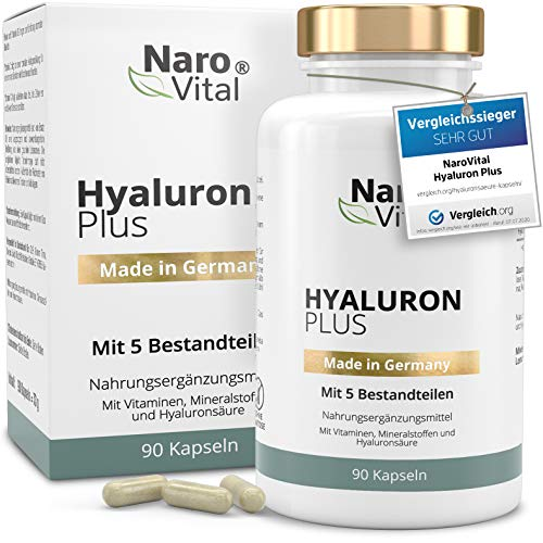 Hyaluronsäure Kapseln - Hochdosiert mit 500 mg - VERGLEICHSSIEGER 2020-90 vegane Kapseln (3 Monate) - Für Anti-Aging, Haut & Gelenke - 500-700 kDa - NaroVital