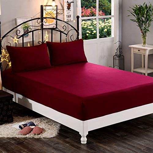 DREAM CARE Waterproof Terry Cloth King Size Bed Ultra Soft & Hypoallergenic Mattress Protector with Elastic Strap - 78'x72'(6.5x6 Feet), Maroon, Pack of 1
