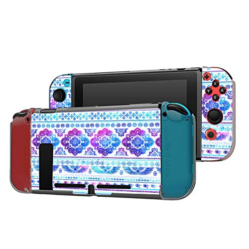 Dockable Case Compatible with Nintendo Switch Console and Joy-Con Controller, Patterned ( Watercolor ethnic Mandala egyptian rug paisley ornament pattern ) Cover with Tempered Glass Screen