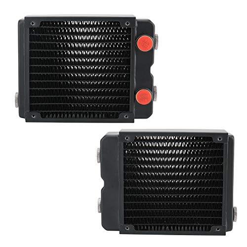 Exliy Radiador de intercambiador de Calor para PC CPU Sistema de refrigeración por Agua Computadora, 2 Capas 12 Tubos Tubo de Cobre Radiador de Cobre, Radiador de intercambiador de Calor de 120 mm