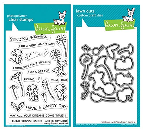 """Lawn Fawn Dandy Day 4""""x6"""" Clear Stamp Set and Coordinating Custom Craft Die Set (LF2217, LF2218), Bundle of 2 Items"""