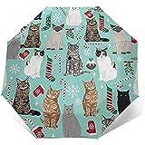 Paraguas de viaje con calcetín de bastón de caramelo de gato navideño, paraguas ligero a prueba de viento, protector solar, botón de apertura y cierre automático