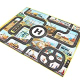 Waterproof Toy Rug,Road PlayMat Toy,Kids Carpet City Life Playmates Great for Playing with Cars and Toys, Picnic Mat,Outdoor Picnic Blanket,Splat Mat (Urban Construction)