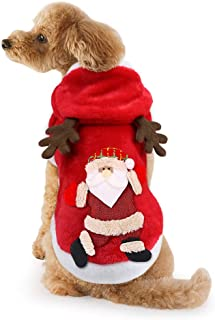 Idepet Dog Cat Christmas Outfit Coat Sweater Santa Claus Cartoon Reindeer Costume Soft Warm Coral Fleece Pet Hoodie Winter Thick Velvet Party Dress Up Clothes Jumpsuit Apparel for Puppy