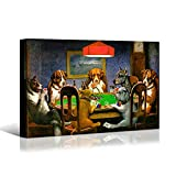 Denozer Canvas Wall Art - Dogs Playing Poker Series C.M Coolidge Art Reproduction - Giclee Canvas Print Gallery Wrap Modern Home Decor Ready to Hang - 48x32 inches