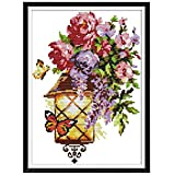Flor Mariposa Luz DIY Costura hecha a mano Contado 14CT Impreso Kit de bordado de punto de cruz Set Decoración del hogar Costura hecha a mano Contado 14ct Impreso bordado de punto de cruz decoración