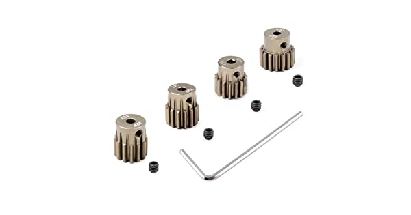 4-Pack Hobbypark Metal 7075 Aluminum Alloy 32 Pitch Pinion Gear Set 3.175mm Shaft Hole 13T 14T 15T 16T Motor Gears Kit for RC Car