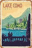 HONGXIN See Como Italia, targa in metallo vintage poster creativo, decorazione da parete per giardino, bar, caffetteria, club, 8' x 12'