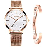 OLEVS Ultra Thin Minimalist Watches for Women with Fashion Bracelet Gifts Set Rose Gold,Ladies Slim Casual Dress Quartz White Face Dial Analog Date Wrist Watch Waterproof with Classic Mesh Band Golden