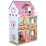 boppi Tall Holz Mädchen Puppenhaus 3 Geschosse/Etagen mit 17 Spielen Möbelzubehör - W06A163