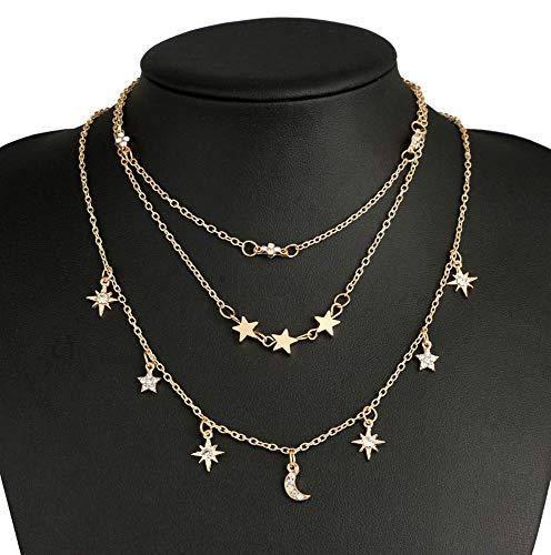 Jovono Gargantillas de múltiples capas Collares Moda Luna Estrella Colgante Collar Cadena Joyas para Mujeres y Niñas (Oro)