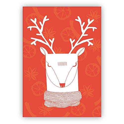 Chique moderne kerstkaart met retro hert op kaneel en anjer achtergrond in oranje • mooie felicitatiekaartenset met enveloppen voor Kerstmis, Nieuwjaar, oudejaarsavond voor familie, vrienden, collega's van de firma 10 Grußkarten