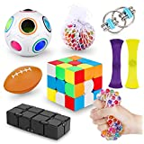 Fidget Toys Pack Cheap, Sensory Toys Set, Stocking Stuffers Figetget Toys Gifts for Kids Adults, Stress Balls, Fidget Cube, Marble Mesh, Monkey Noodle, Cool Stuff for ADHD ADD Autism Anxiety Relief