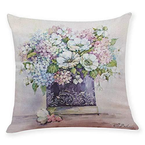YSHDNDML Blauw wit roze paarse hortensia bloemen in een vaas frans land vintage retro stijl vierkant linnen kussen gooien kussensloop
