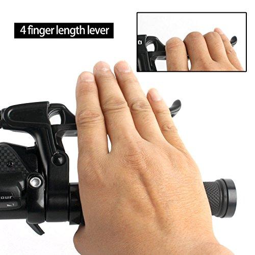 Bicycle Brake Levers 2pcs Mountain Bike Brake Handles 4 Finger 2.2cm Diameter for Most Bicycle, Road Bike, MTB, BMX, Cycling (Aluminum Alloy, Black)
