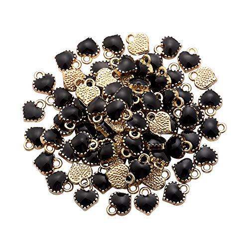 Cheriswelry. 100 piezas de aleación mini corazón negro esmalte encantos de metal chapado en oro colgantes para hacer joyas, pulseras, collares, pendientes, regalos de San Valentín accesorios