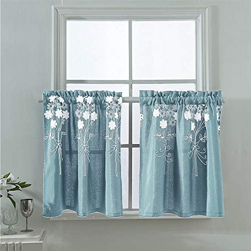 Molaxhome Floral Kitchen Tiers Curtains Valances 29x24in, 58inch Wide Embroidered Short Curtain Soft Texture for Cafe Living Room Small Sliding Glass Door Rod Pocket Set of 2 Panels