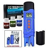 Comprobador de temperatura 3 en 1 ORP Redox PH con electrodo extra, tipo pluma ATC -1999~1999mV 0,00-14,00 pH 0~50 °C, tanque de acuario de calidad de agua para piscina, laboratorio, spa, hidroponía