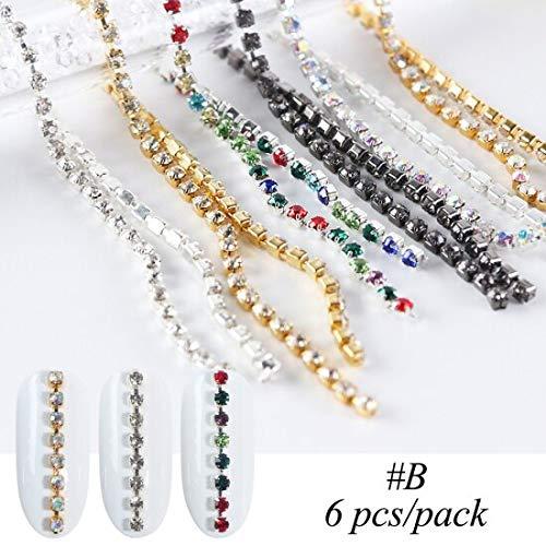 Meiyy nageldecoratie, 6 stuks, diamantvorm, nail art, strass, 3D-sieraden, kleurrijk, ketting met sierstenen B Style