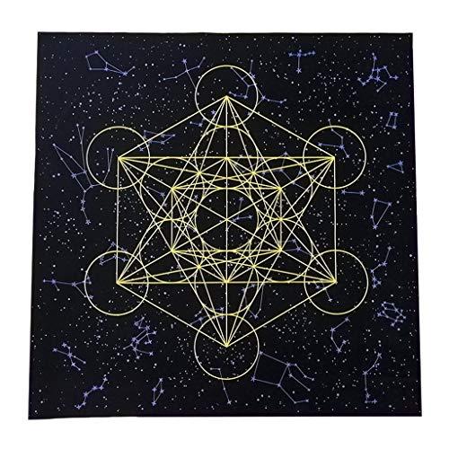 Nappe De Carte De Tarot Metatron Cube Grille De Cristal Astrologie Divination Autel Tissu De Velours Jeu De Société Tapis De Carte De Tarot