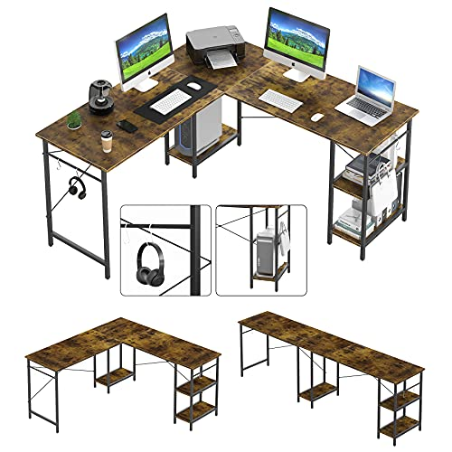 """90.5"""" Double Computer Desk, Adjustable 55"""" L Shaped Corner Desk with Monitor Stand & Storage Shelves, Extra Long Two Person Desk Workstation for Home Office Study/Writing/Working - Rustic Brown"""
