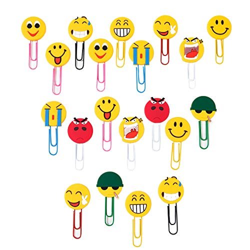 Graffetta Emoticon Emoji Segnalibri Bambini Graffette Decorative per Bambini Ragazze Ragazzi Studenti 20PCS